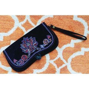 Lucky Brand Bohemian Embroidered Velvet Wristlet